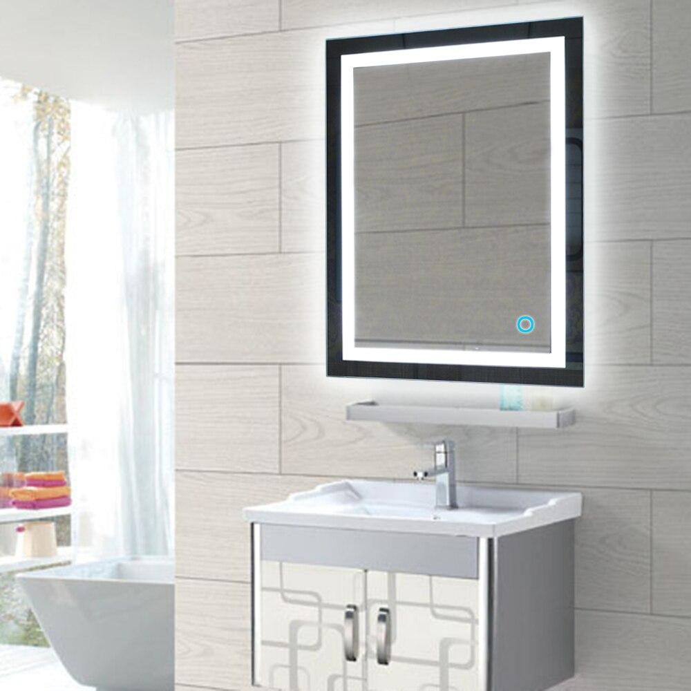 Светодио дный подсветкой Ванная комната зеркало настенное крепление Ванная комната зеркало для макияжа с сенсорной кнопки Ванна зеркала п...