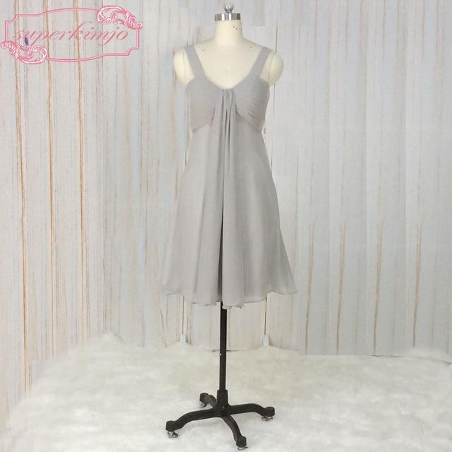 SuperKimJo Wedding Party Dresses Silver Gray Chiffon Short ...