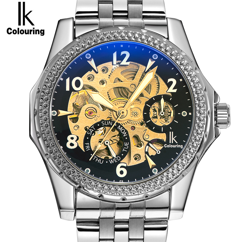 IK Colouring Automatic Mechanical Watch Decorative Small Dials Luminous Pointer Hollow Back Case Stainless Steel Men Wristwatch k colouring women ladies automatic self wind watch hollow skeleton mechanical wristwatch for gift box