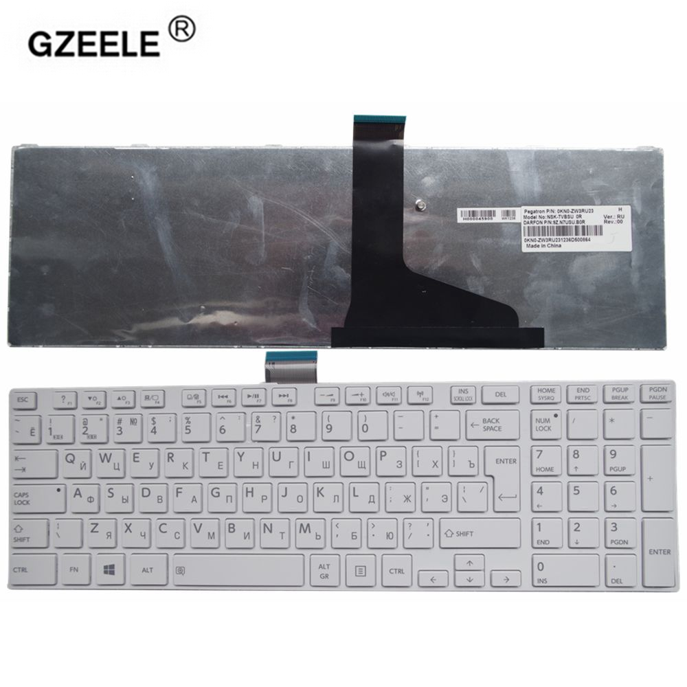 GZEELE New Russian Laptop Keyboard For TOSHIBA C850 C855 C855D L850 L850D L855 L850 L855 L870 L850-T01R P850 S850 S855D RU White