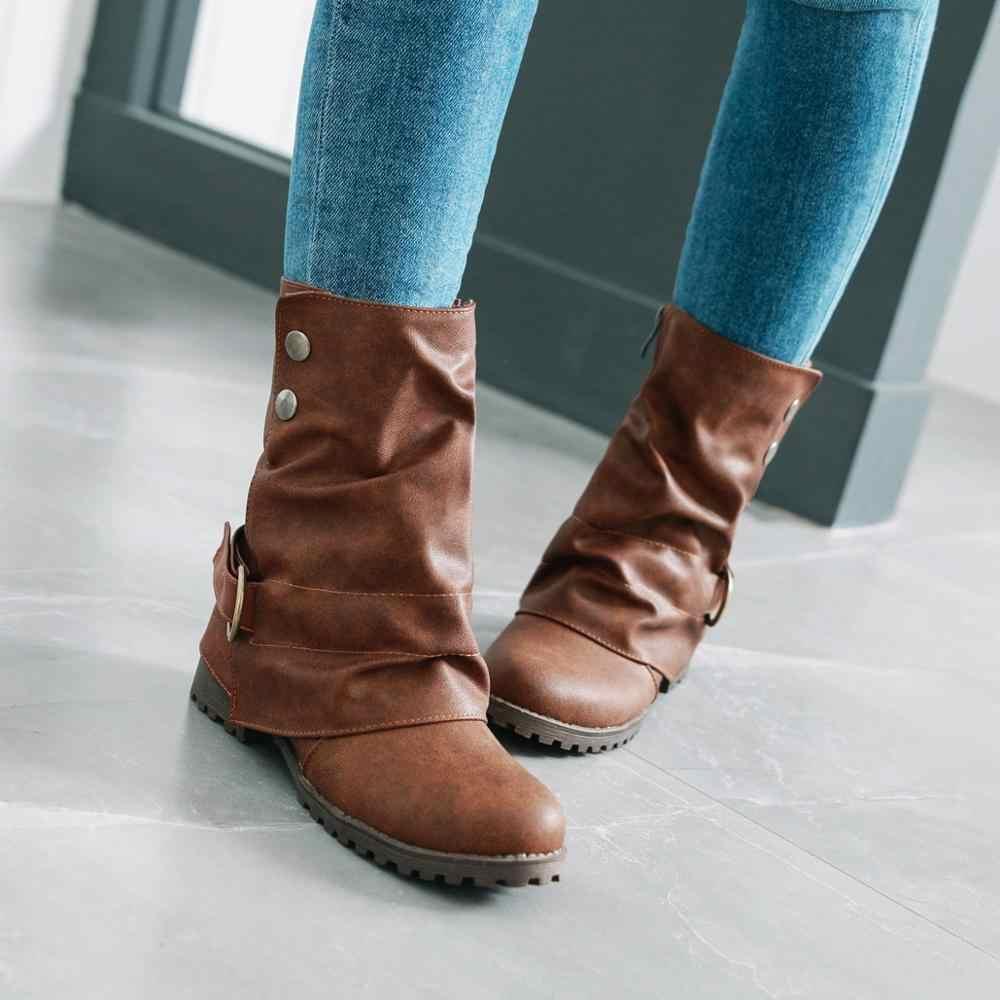 Batı yarım çizmeler Kadınlar için Retro Kovboy Çizmeleri Rahat Düz Topuk Vintage Kısa Kadın Botları Siyah Kahverengi Gri 2019 Ayakkabı Yeni
