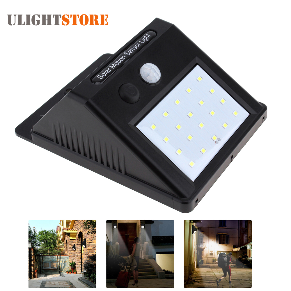 Porch Light Without Electricity: LED Solar Power PIR Motion Sensor Wall Light Outdoor