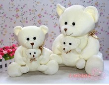 big size lovely plush white teddy bear toy soft cute mother&child bear doll about 40cm