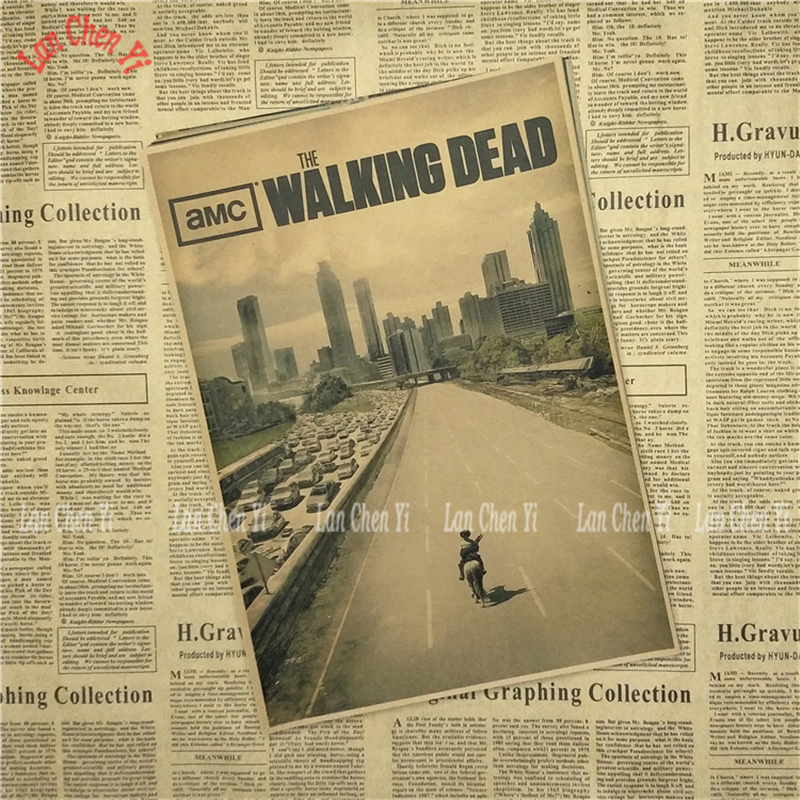 The Walking Dead Classic Kraft Kağız afişa kafesi yaradıcı divar - Ev dekoru - Fotoqrafiya 2