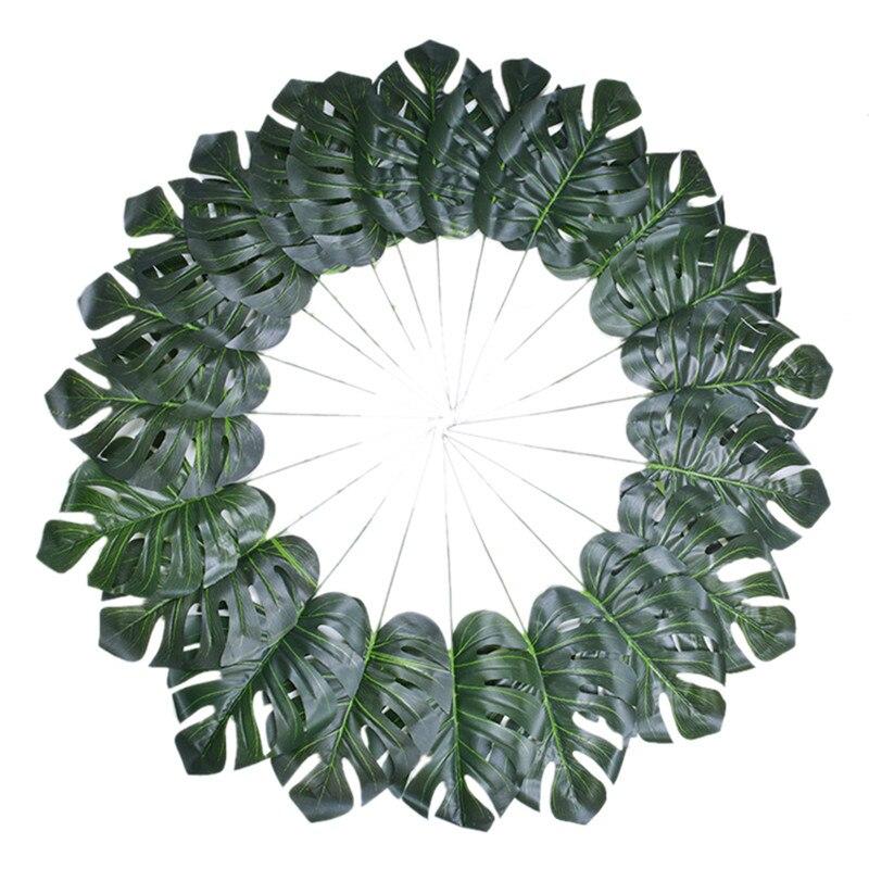 30 Pcs Plastic Artificial Turtle Back Leaf Tropical Leaves Simulation Theme Party Decor Home Garden Artificial Flower Decor