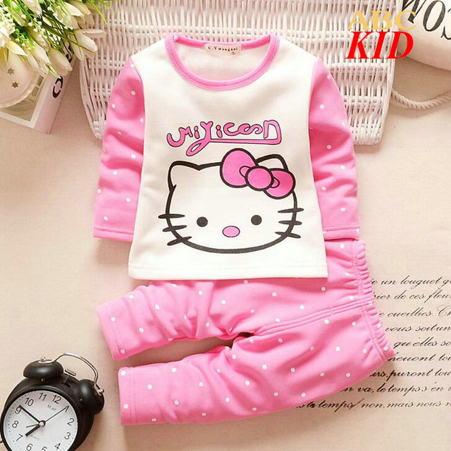 Winter fleece shirt + pants Baby boys girls clothing set warm pajamas suit vetement enfant garcon hello kitti shirts KD195