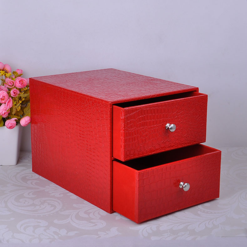Double Layer Double Drawer Wood Leather Desk Set Filing Cabinet Box Office Organizer Document Container Holder Croco Red 214D