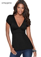 SINGYOU Europe America Style Sexy Deep V Neck Women Tops Summer Fashion Bodycon Slim Female T