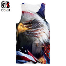 OGKB Summer Cool 3D Tanks Women/men Print American Flage Eagle Tank Top Unisex Hiphop Punk Gothic Sleeveless Shirt Vest Singlets(China)