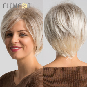 Image 5 - ELEMENT 6 Inch Short Synthetic Wig for Women Left Side Parting Ombre Gray to White High Temperature Replacement Hair Wigs