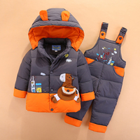Infant Baby Snowsuit New Kids Winter Suits for Boys Girls Clothing Sets 2pcs Lovely Animal Hooded Duck Down Parka+Pants Outdoor