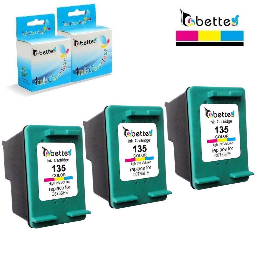 3PK,Bette Ink Cartridges Replace for HP 135 hp135 Officejet 100 L411a 150 L511a H470 H470b H470wbt H470wf 6310 K7100 K7103 K7108