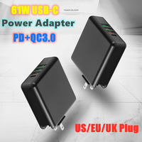 61W Multi port Charger 3A USB C Type C PD QC 3.0 Fast Charger Adapter for Macbook Pro Air Ipad Mobile Phone Laptop Tablet Charge