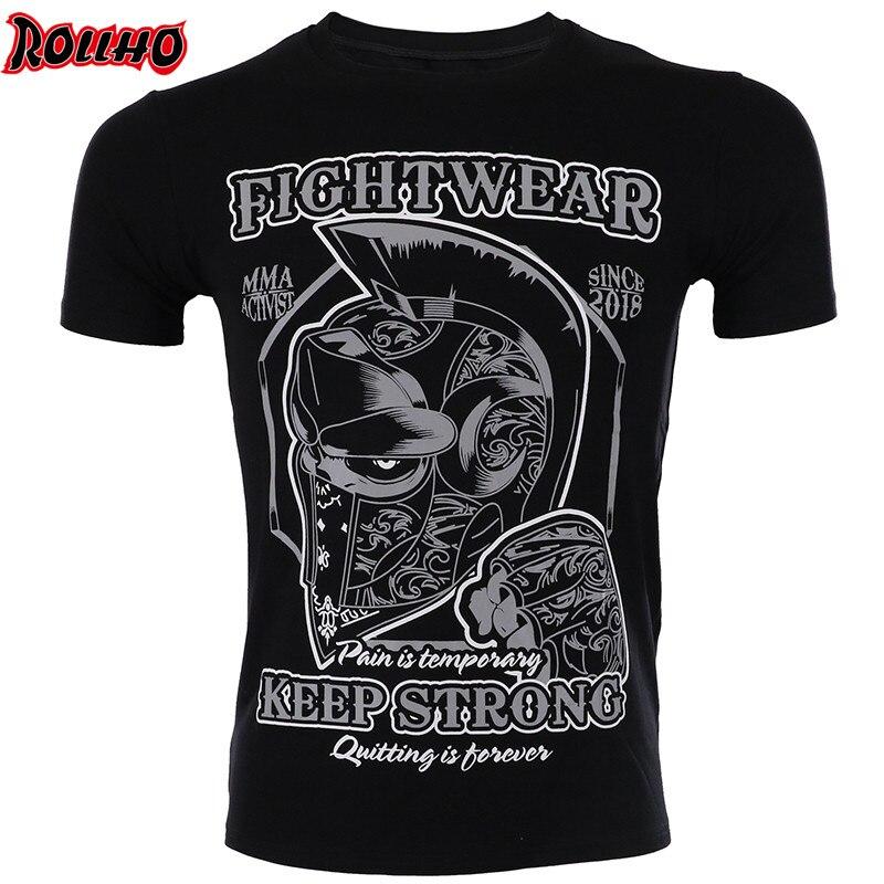 ROLLHO Elastic Body-building Clothes Tiger Muay Thai MMA Muay Thai Boxing Shirt Jiu Jitsu Strong Mma Short Sleeve Tshirt