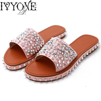 Platform Summer Women Slippers Fashion Revits Female Slides Beach Flat Shoes Shiny Slides On Opened Toe Pink Slippers New Brand