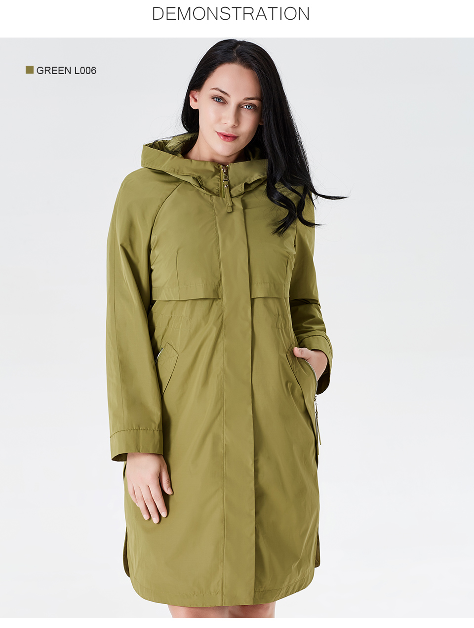 19 Trench Coat Spring And Autumn Women Causal coat Long Sleeve With Hood Solid color female moda muje High Quality new AS-9046 6