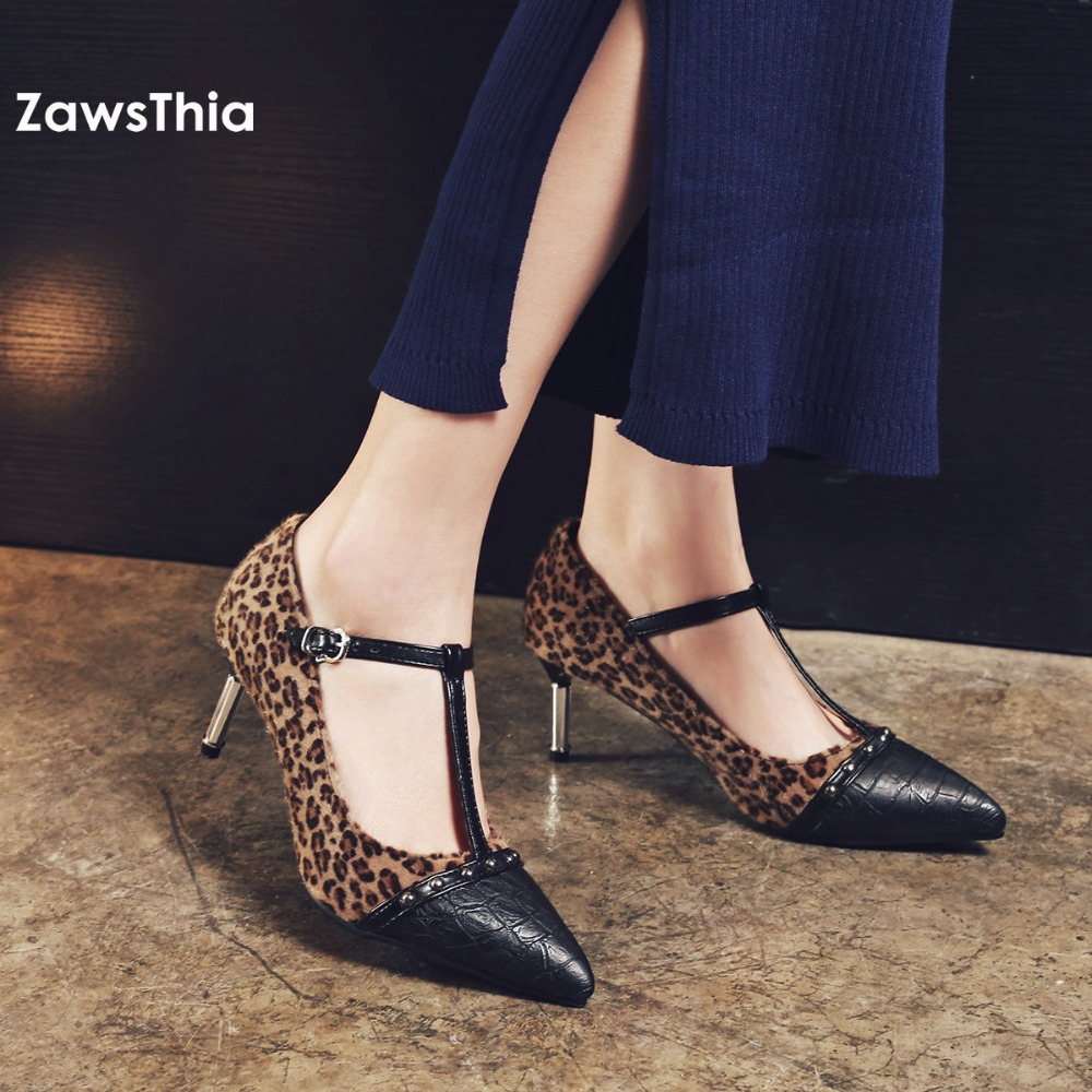 ZawsThia girls sexy black leopard pointed toe party club high heels mary janes shoes for women with buckle T strap pumps woman ldhzxc women mary janes pumps sexy pointed toe gladiator high heels shoes woman blue genuine leather stilettos shoes woman pumps