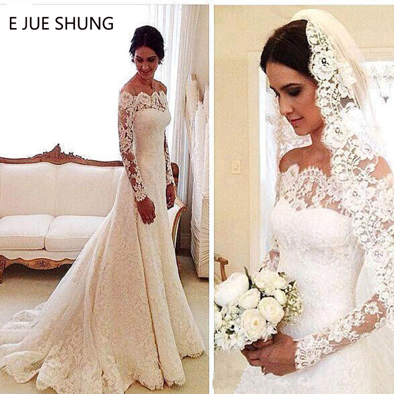 E JUE SHUNG Vintage Lace Long Sleeves Wedding Dresses Off The Shoulder Cheap Wedding Gowns Bride