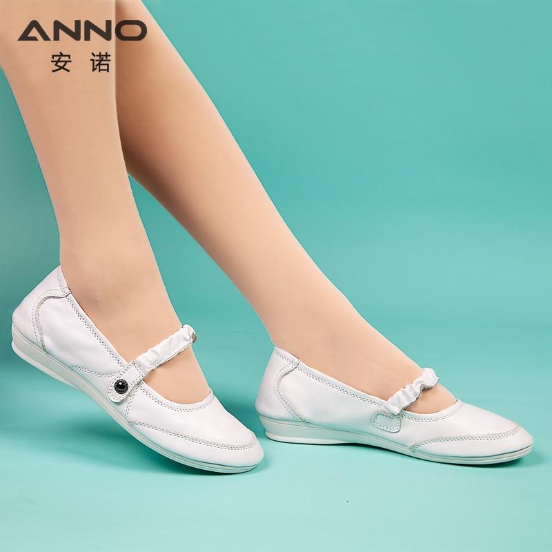 White Leather Classic Nurse Surgical Shoes Flat Hospital