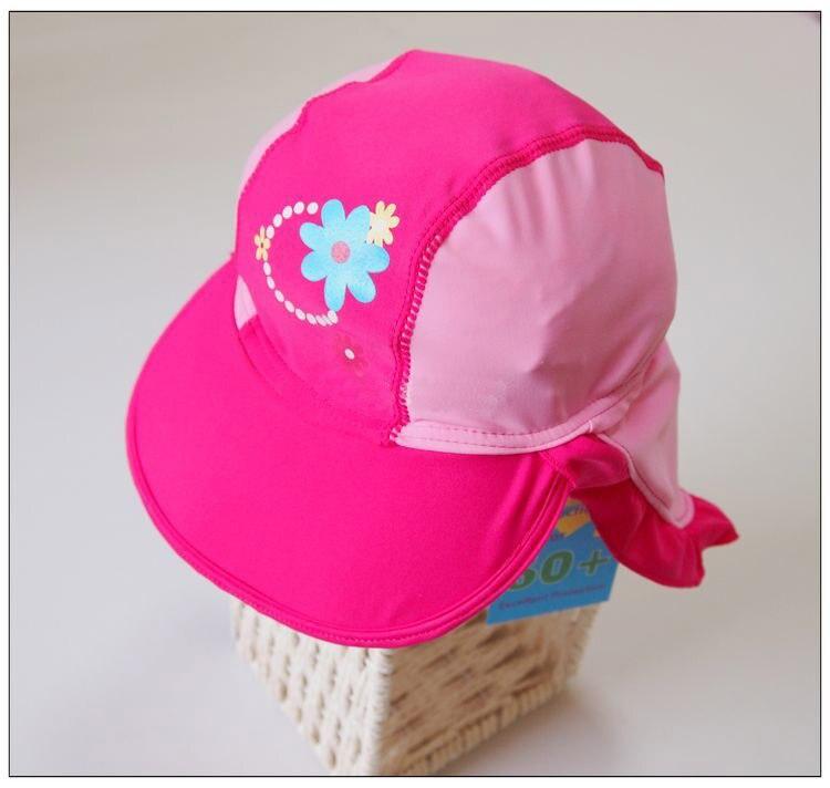 Child sunscreen swimming cap female child sun shading swimming cap baby  beach hat anti uv infant outdoor neck cap-in Swimming Caps from Sports ... 8db7ba5b92f
