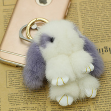 2017 Fur Bunny Rabbit Keychain Fashion pom pom keychain Fox fu fur keychain Toy Doll rabbit keychain 8 cm Pendant Bag Car Charm