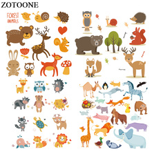 ZOTOONE Cute Animal Patch Set Iron On Vinyl Patches Gift for Kids Clothes Design DIY Decoration Stickers Heat Transfers  E