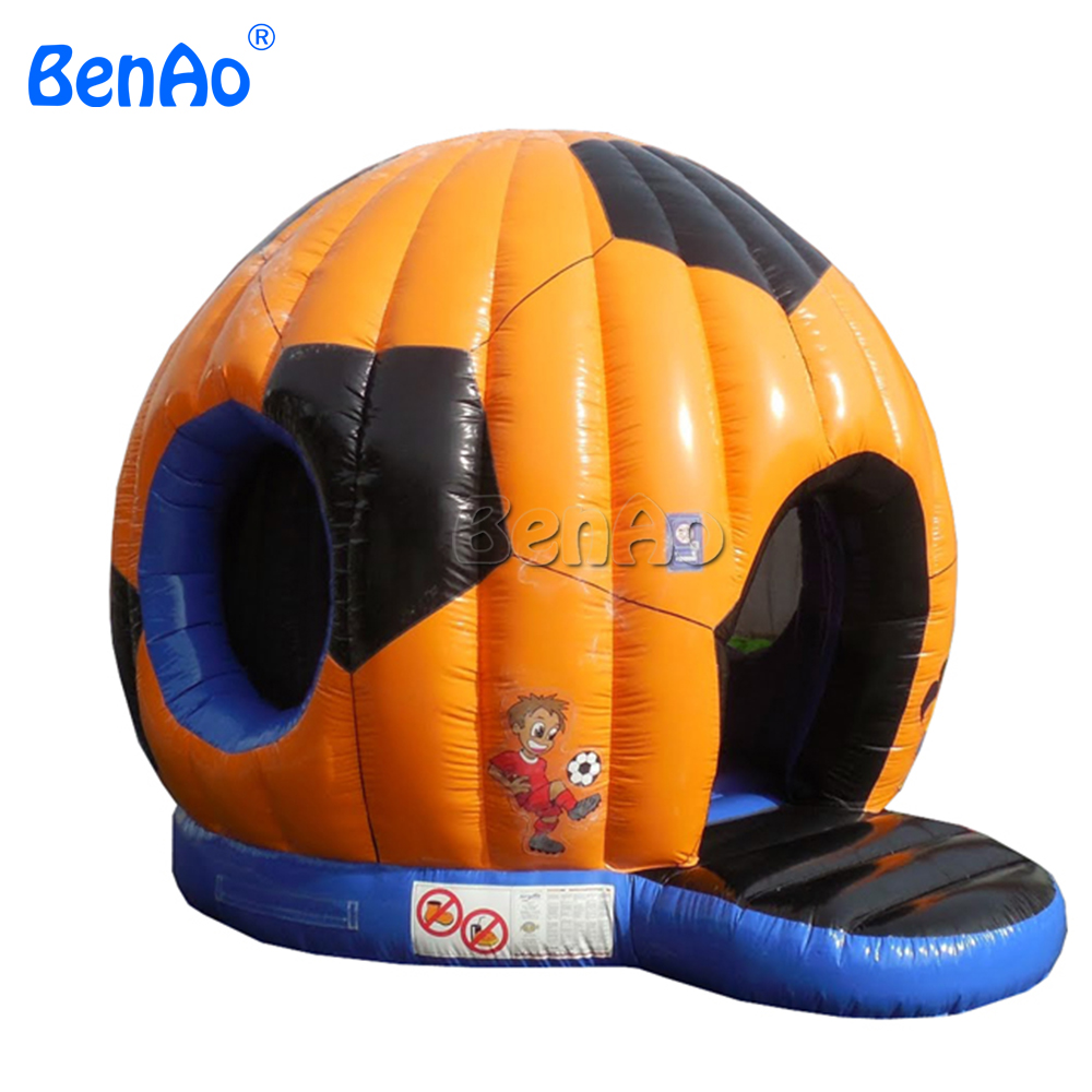 T317 Free shipping+air blower  inflatable jumping castle/Soccer Football Shape Inflatable Bouncer Jumping Bounce House For Sale 2015 blue yellow inflatable jumping house free shipping