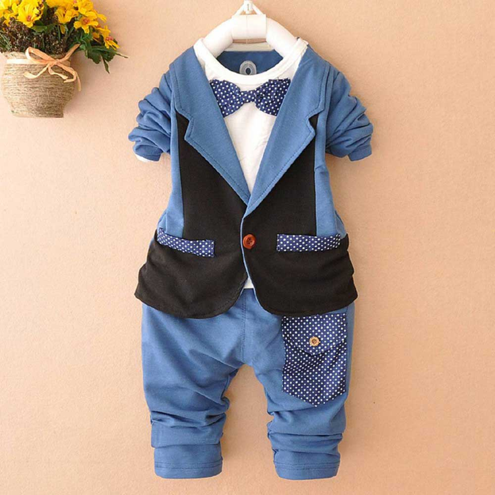 Autumn Roupas De Bebe Boys Male Baby Infants Clothing Sets Faux two Piece Blazer Coat Outwear+Long Pants 2pcs Clothes Sets Y1549