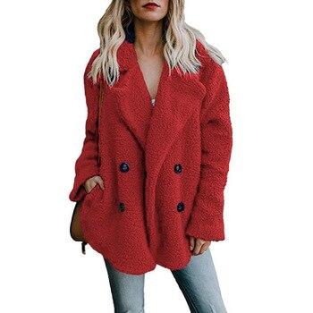 Solid Coat Women Autumn Spring Wide Lapel Loose Warm jacket Outwear Female Casual Jumper Ladies Loose Blend Coat Faux fur Ladies 3
