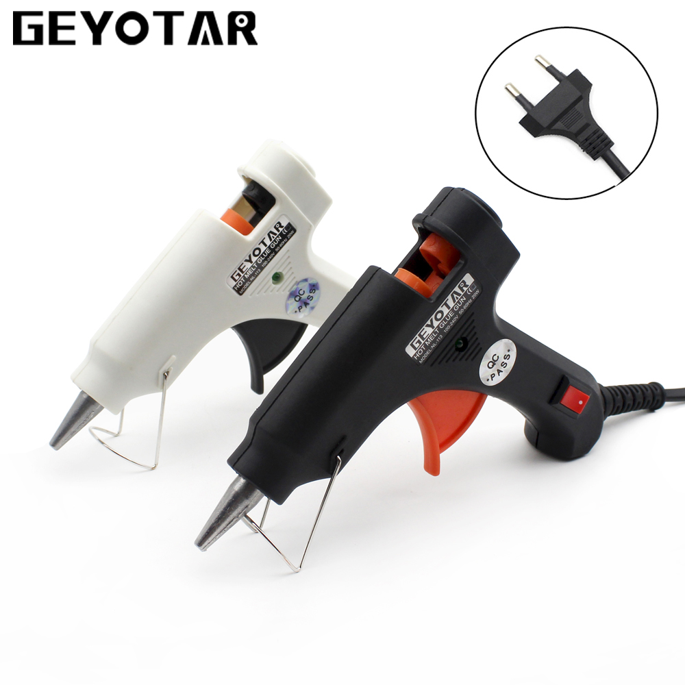 20W EU Plug Hot Melt Glue Gun with Free 1pc 7mm Glue Stick Industrial Mini Guns Thermo Electric Gluegun Heat Temperature DIYTool newacalox industrial 150w eu plug hot melt glue gun with 1pc 11mm stick heat temperature tool guns thermo gluegun repair tools
