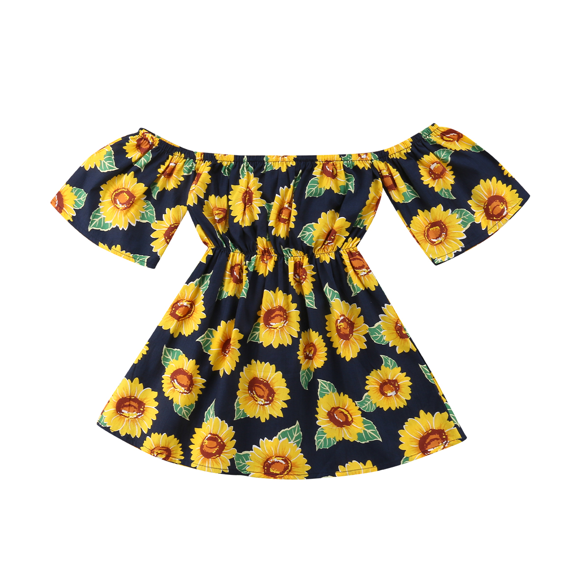 UK Sunflower Toddler Kids Baby Girls Flowers T-Shirt Tutu Dress Clothes Sundress