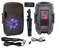 STARAUDIO Pro 15 2500W Powered PA DJ Active Karaoke LED RGB light Bluetooth Speaker W/ 1 Stand 1 Wired Microphone SPW 15RGB