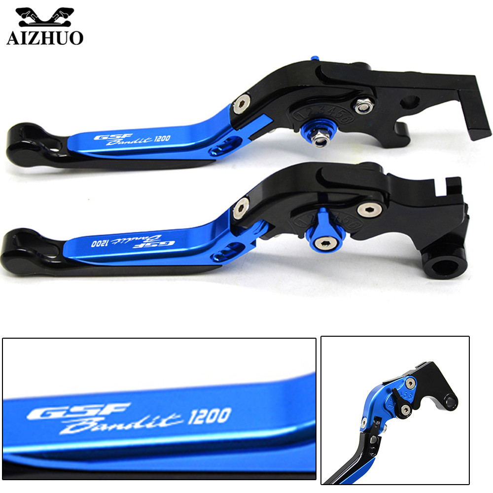 For Suzuki GSF 1200 Bandit 2001-2006 With GSF1200 Bandit LOGO Motorcycle Clutch Brake Lever Aluminum Extendable Foldable Levers