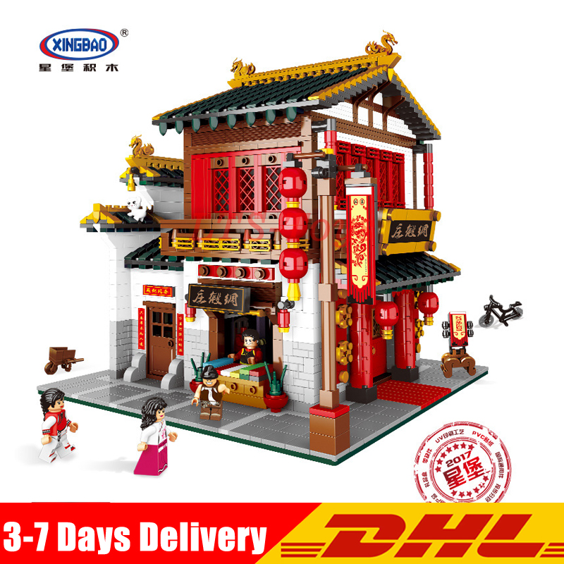 IN STOCK XingBao 01001 2787Pcs Chinese Style The Chinese Silk and Satin Store Set Educational Building Blocks Bricks Toys Model