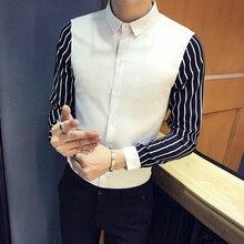 Mens Stripe Shirt Long Sleeve Men Fashion Casual Slim Fit Shirs Business Shirts Dress Streetwear Camisa Masculina S-5XL
