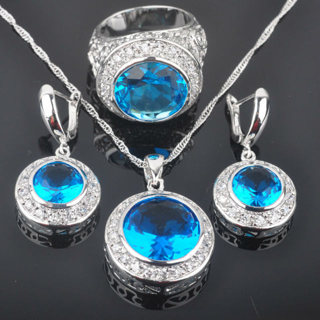 Adorable Blue Created Topaz Zircon Women's  Silver Jewelry Sets Earrings/Pendant/Necklace/Rings Free Shipping QZ001