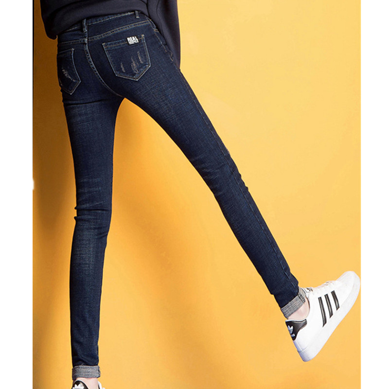 2017 new winter Add wool women thick jeans mid waist out wear pencil pants turn down rims casual skinny jeans