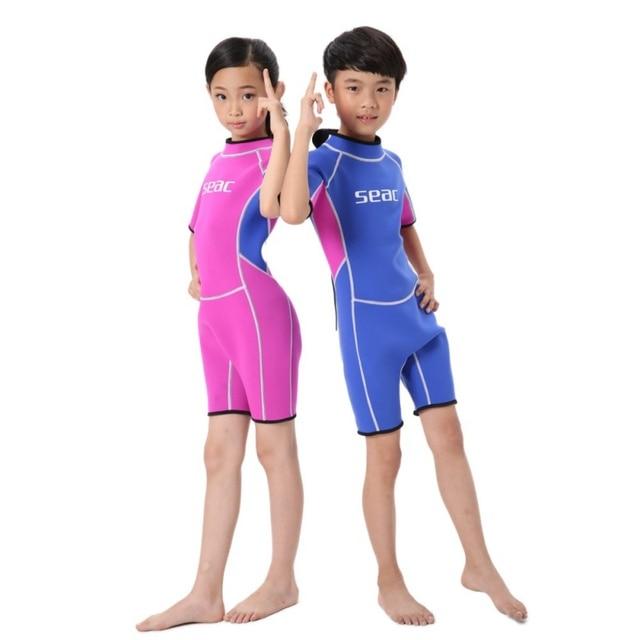 7dc6e8d35 2.5MM Neoprene Wetsuits Kids One-piece Swim Wears Diving Suits Short  Sleeves Boys Girls Surfing Children Rash Guards