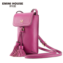 EMINI HOUSE Genuine Leather Tassel Phone Bag Vintage Women Shoulder Bags Crossbody Bags For Women Mini Messenger Bag