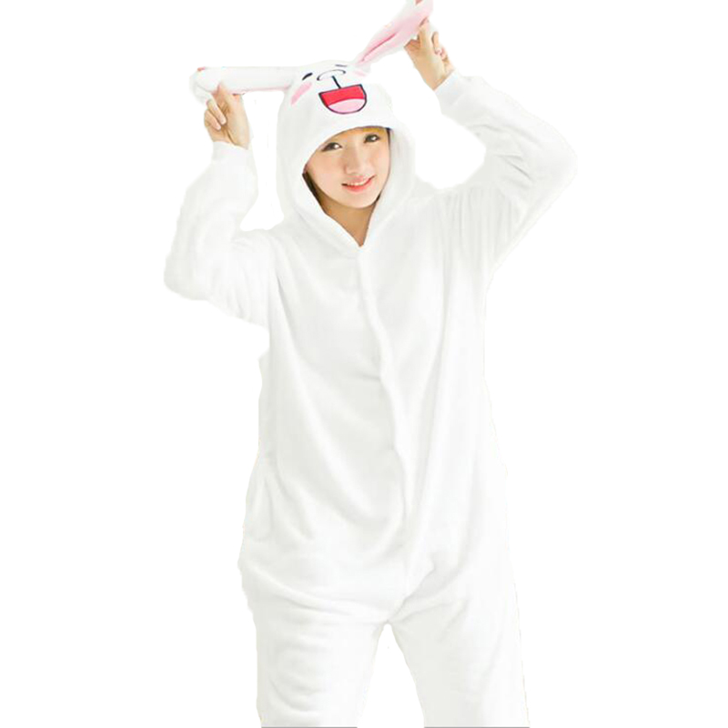 Adult Anime White Cony Rabbit Kigurumi Onesies Cute Costume Women Men Funny Warm Soft Animal Onepieces Pajamas Home Wear Girl