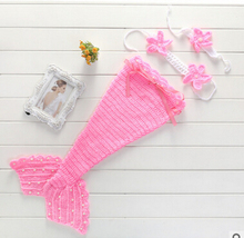 Newborn Baby Photography Props Clothing Set Infant Baby Handmade Knit Crochet Costume Mermaid Style Outfits Clothing 2 Colors
