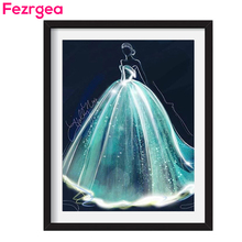 Get more info on the Fezrgea 5D diy Diamond Painting Cross Stitch Illusion Dream Bride Dress Full Square&Round RhineStone Wedding Bedroom Decoration