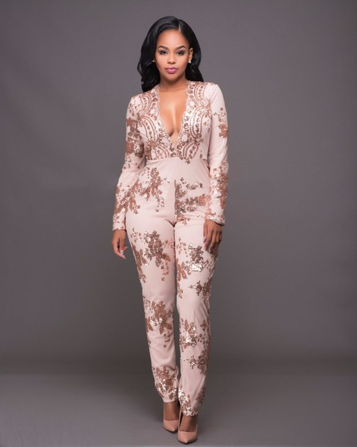 2f04a0266135 2018 Women s deep V Neck embroidery flower sequin bodysuit romper elegant  full sleeve jumpsuit