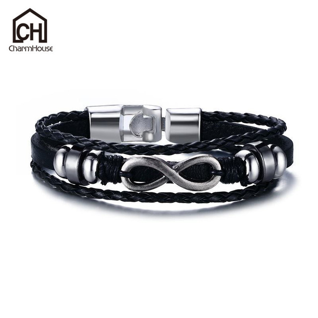 8 Inch Infinity Men S Bracelet Bangles Antique Braided Leather Bracelets Wrist Wrap Belt Vintage Jewelry Pulseras