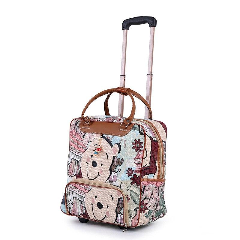 Nouvelle Mode Chaude Femmes bagages de chariot valise à roulettes Marque décontracté Rayures Roulant Cas nouveau jouet sur Roues Bagages Valise