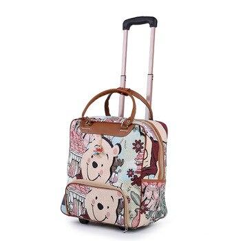 89999f131ecbe Yeni Sıcak Moda Kadın Arabası Bagaj Haddeleme Bavul Marka Rahat Çizgili Haddeleme  Durumda Tekerlekler üzerinde Seyahat Çantası Bagaj Bavul