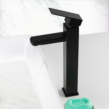 Frap Basin Faucet Black Square Bathroom Sink Faucet Tap Stainless Steel Bathroom Faucet Deck Mounted Basin Mixer Tap Y10170/-1 9