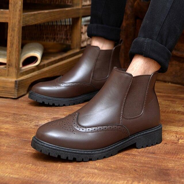Sıcak 2018 moda erkek ayakkabısı bahar sonbahar yarım çizmeler erkekler rahat Brogue ayakkabı erkekler rahat erkek Martin çizmeler artı boyutu 39- 44