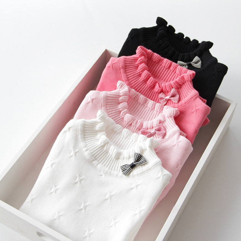 Autumn and Winter Baby Girls Sweaters 2018 New Fashion Girls Clothing Bow Cotton Girls Sweaters and Pullover DQ686