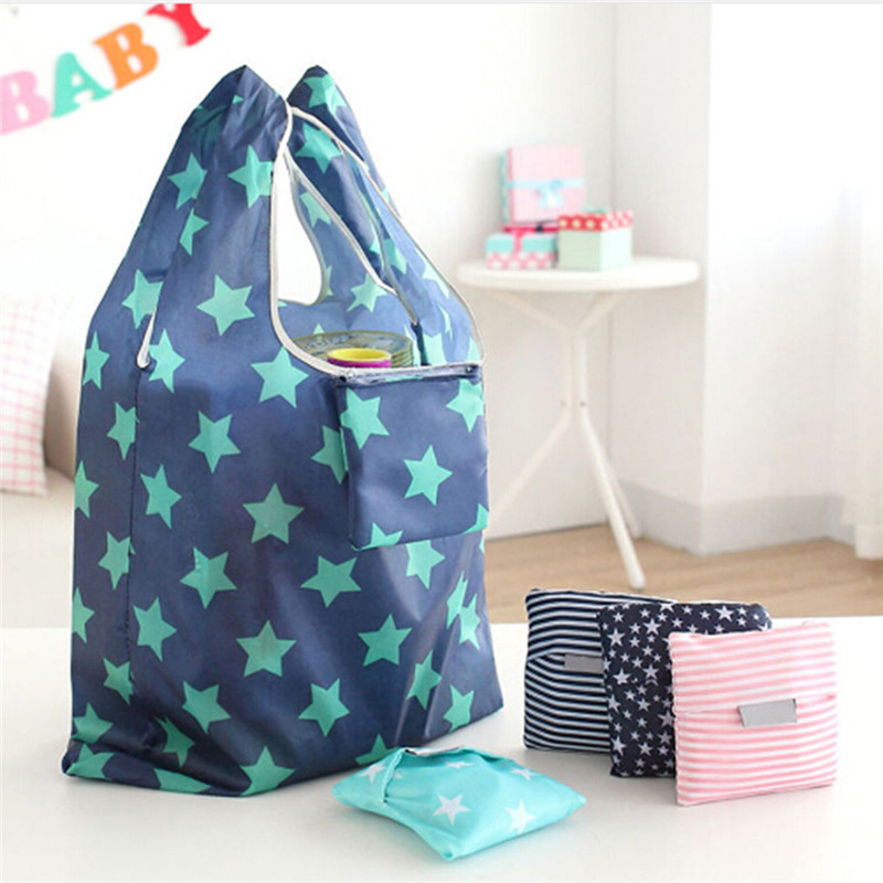 New Printing Fold Able Green Shopping Bag Tote Folding Pouch Hanging Storage Handbags Convenient Large Capacity Organizer